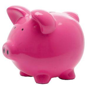 A paper mache piggy bank