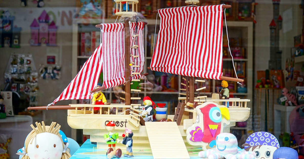 Toys in a toyshop window