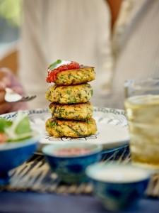 Kumara kale and quinoa fritters