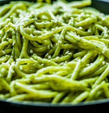Green pasta with coconut milk