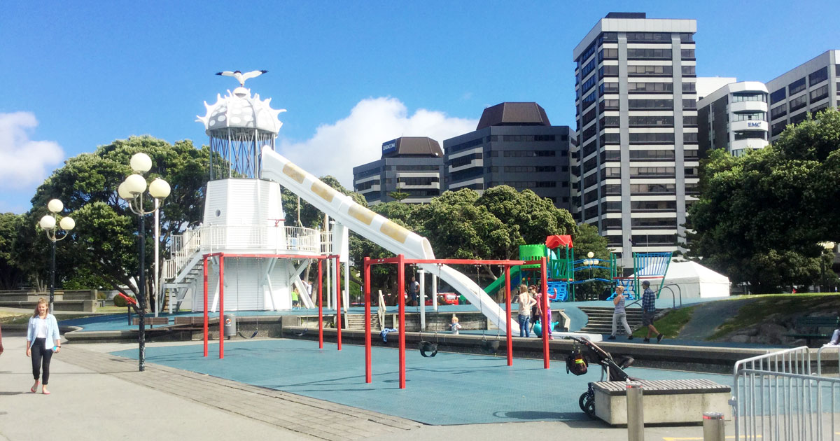 The Huge Lighthouse Slide Of Frank Kitts Playground Is Ultimate Fun For Your Daring Kids Perched Centrally On Wellington Waterfront