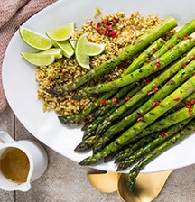 LeaderBrand Barbecued Asparagus Spears Served with Chilli Vinaigrette