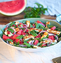 Watermelon, Kale, Spinach and Haloumi Salad