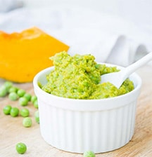 Green pea and pumpkin puree