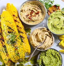 Barbecued Sweetcorn with Flavoured Butters