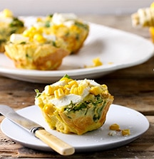 Sweetcorn and baby spinach frittatas