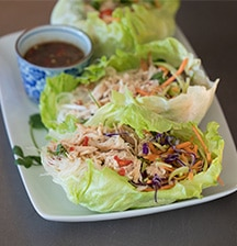 Iceberg lettuce cups with chicken & broccoslaw