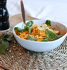 Buttercup 'spaghetti' with spinach & parmesan