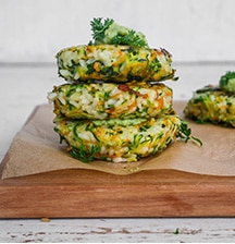Rice, courgette and carrot fritters