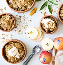 Salted butterscotch and JAZZ apple crumble