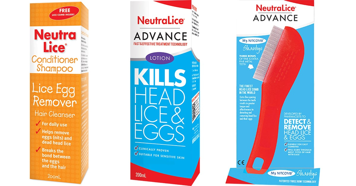 three Neutralice products used to treat nits