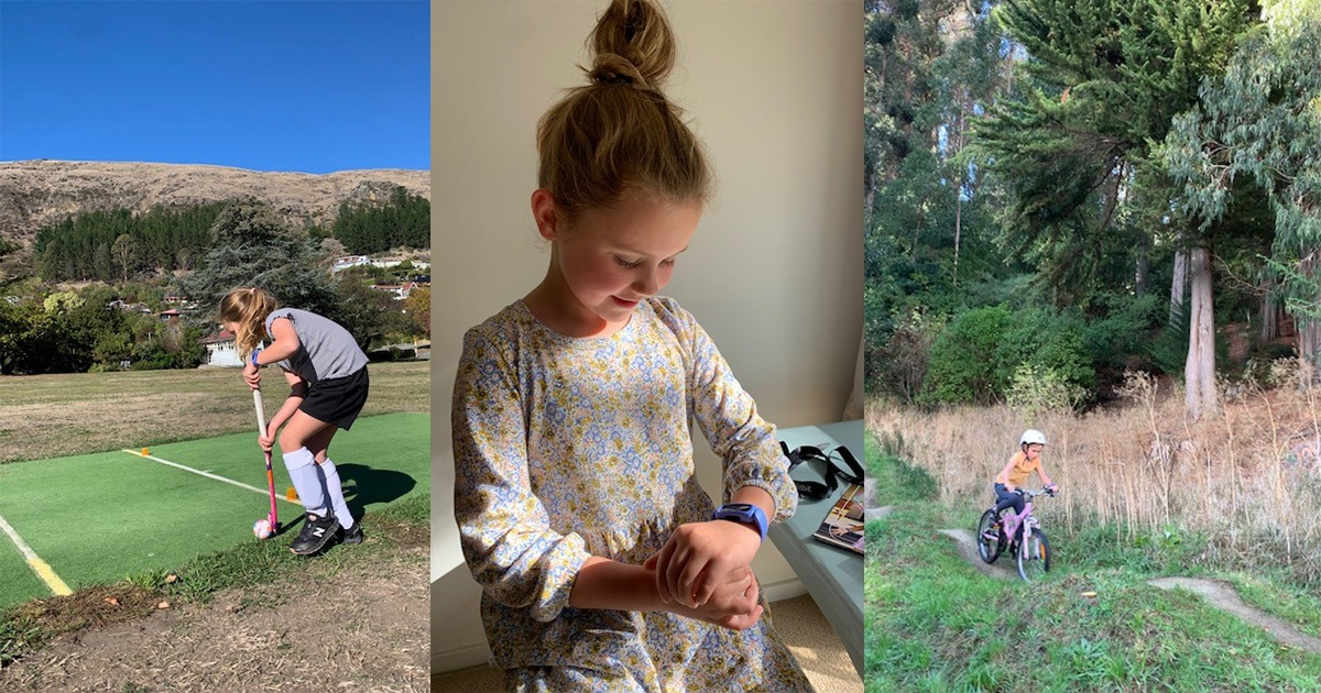 girl playing hockey, girl looking at Fitbit watch, girl mountain biking