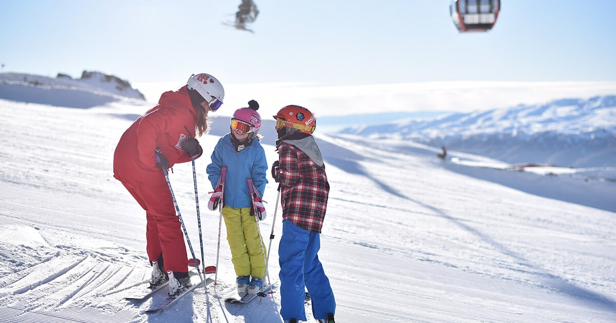 Kids learning to ski at Cardrona
