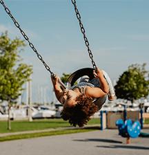 Playgrounds, bike tracks and walks
